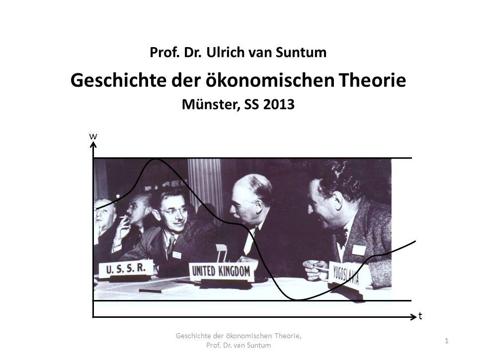 Geschichte der ökonomischen Theorie, Prof. Dr. van Suntum 1 Geschichte der ökonomischen Theorie Münster, SS 2013 Prof. Dr. Ulrich van Suntum t w