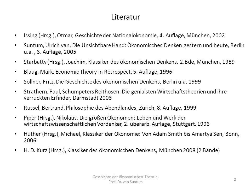 Literatur Geschichte der ökonomischen Theorie, Prof. Dr. van Suntum 2 Issing (Hrsg.), Otmar, Geschichte der Nationalökonomie, 4. Auflage, München, 200
