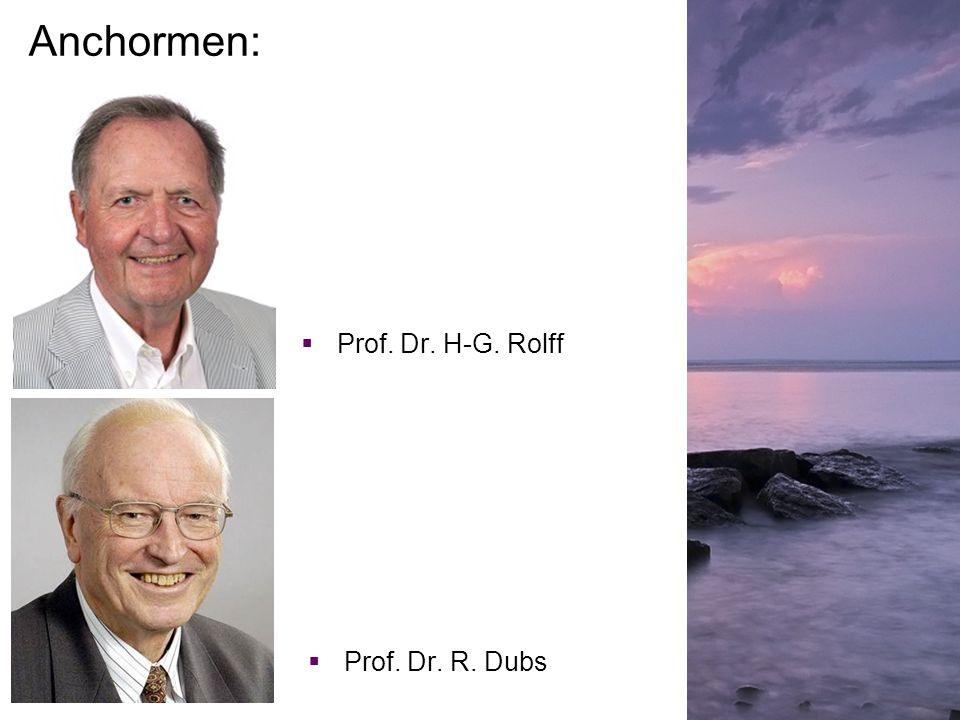 Anchormen: Prof. Dr. H-G. Rolff Prof. Dr. R. Dubs