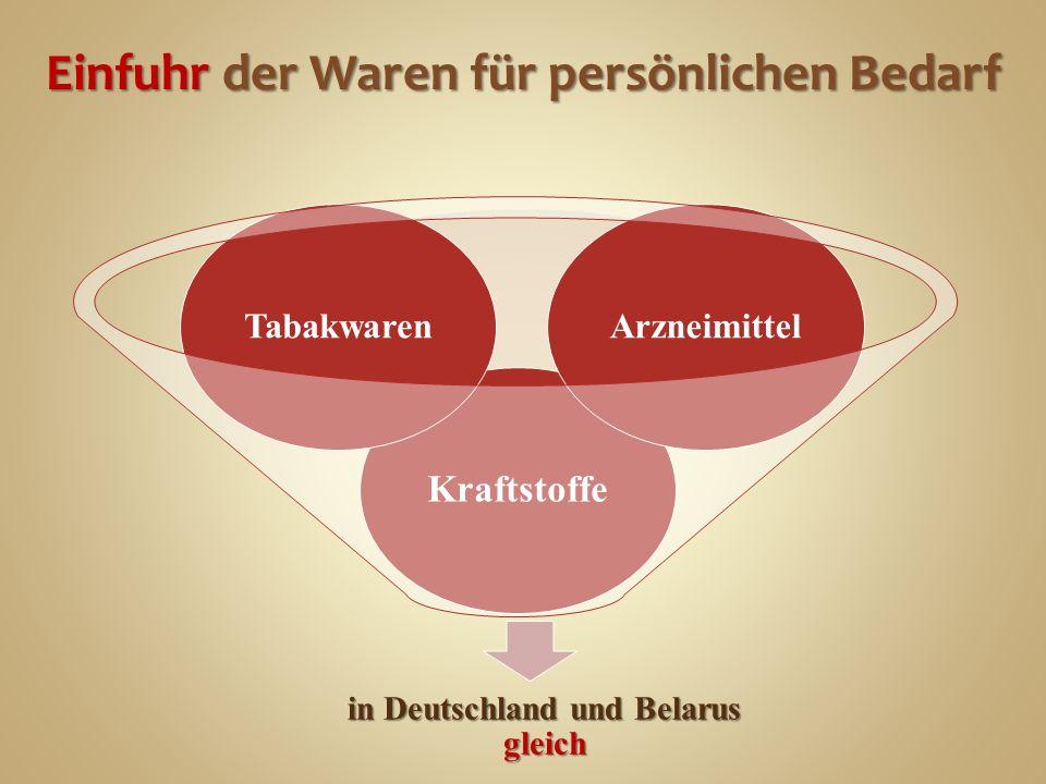 Einfuhr der Waren für persönlichen Bedarf in Deutschland und Belarus gleich Kraftstoffe TabakwarenArzneimittel