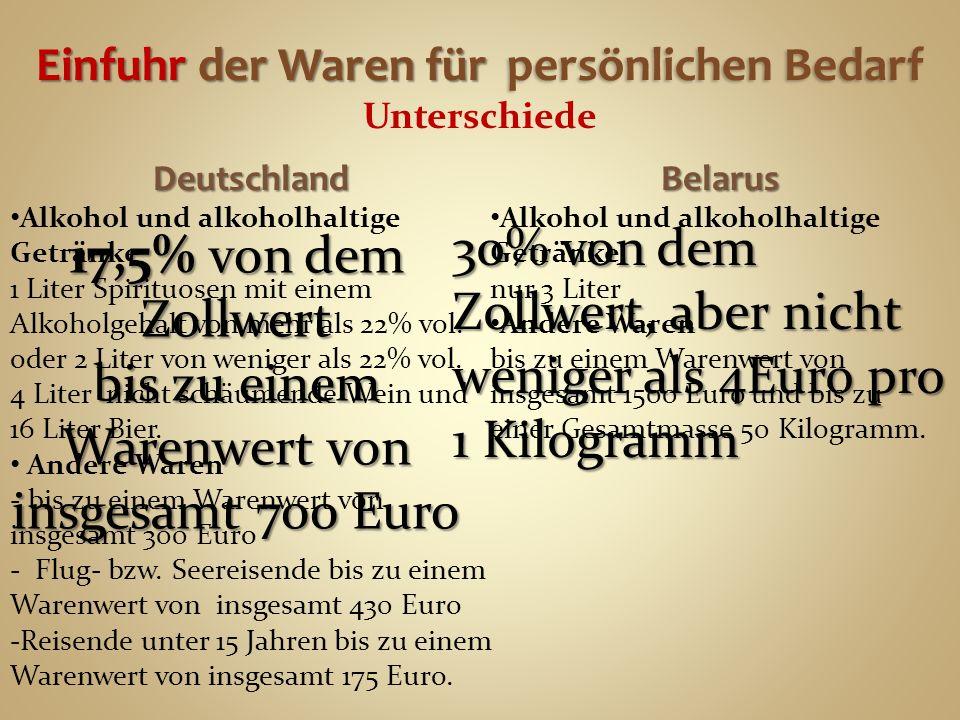Einfuhr der Waren für persönlichen Bedarf Einfuhr der Waren für persönlichen Bedarf Unterschiede Deutschland Alkohol und alkoholhaltige Getränke 1 Liter Spirituosen mit einem Alkoholgehalt von mehr als 22% vol.