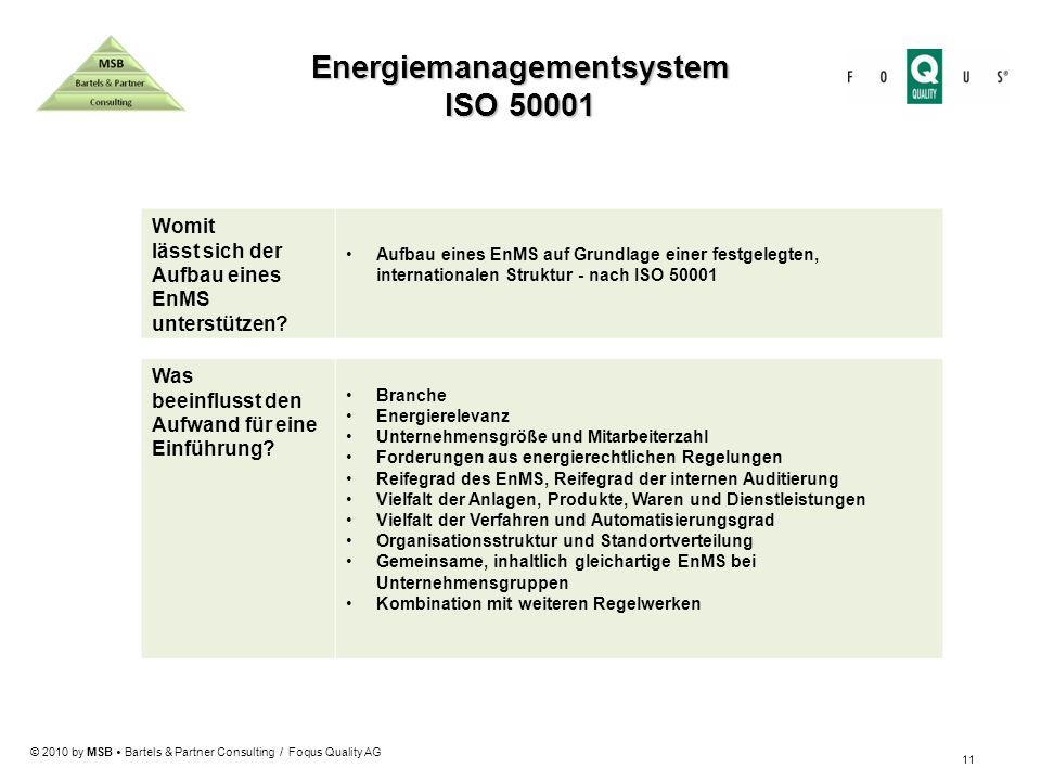 © 2010 by MSB Bartels & Partner Consulting / Foqus Quality AG 11 Womit lässt sich der Aufbau eines EnMS unterstützen? Aufbau eines EnMS auf Grundlage