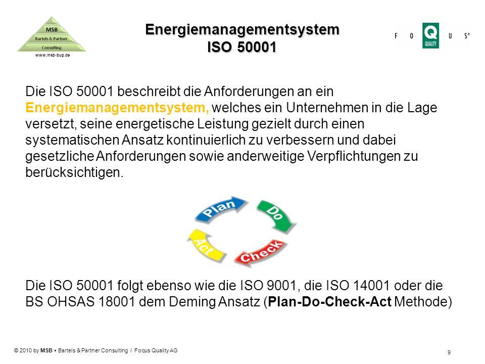© 2010 by MSB Bartels & Partner Consulting / Foqus Quality AG www.msb-bup.de Die ISO 50001 beschreibt die Anforderungen an ein Energiemanagementsystem