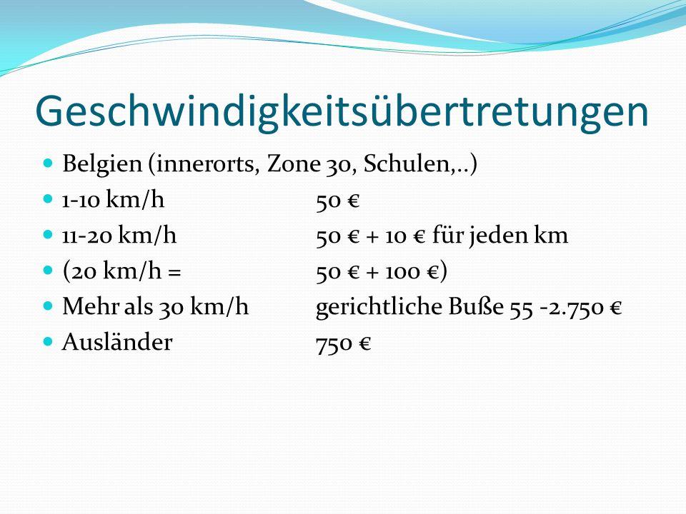 Geschwindigkeitsübertretungen Belgien (innerorts, Zone 30, Schulen,..) 1-10 km/h 50 11-20 km/h50 + 10 für jeden km (20 km/h = 50 + 100 ) Mehr als 30 k