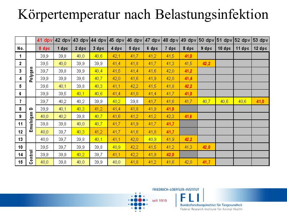 Körpertemperatur nach Belastungsinfektion