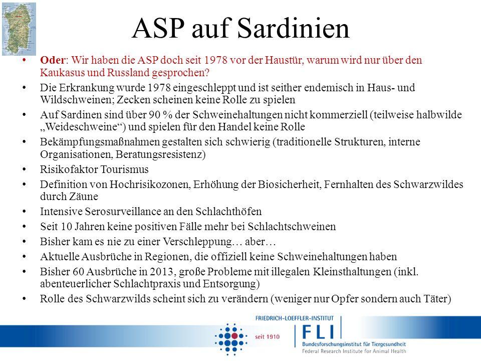 ASP auf Sardinien Oder: Wir haben die ASP doch seit 1978 vor der Haustür, warum wird nur über den Kaukasus und Russland gesprochen? Die Erkrankung wur