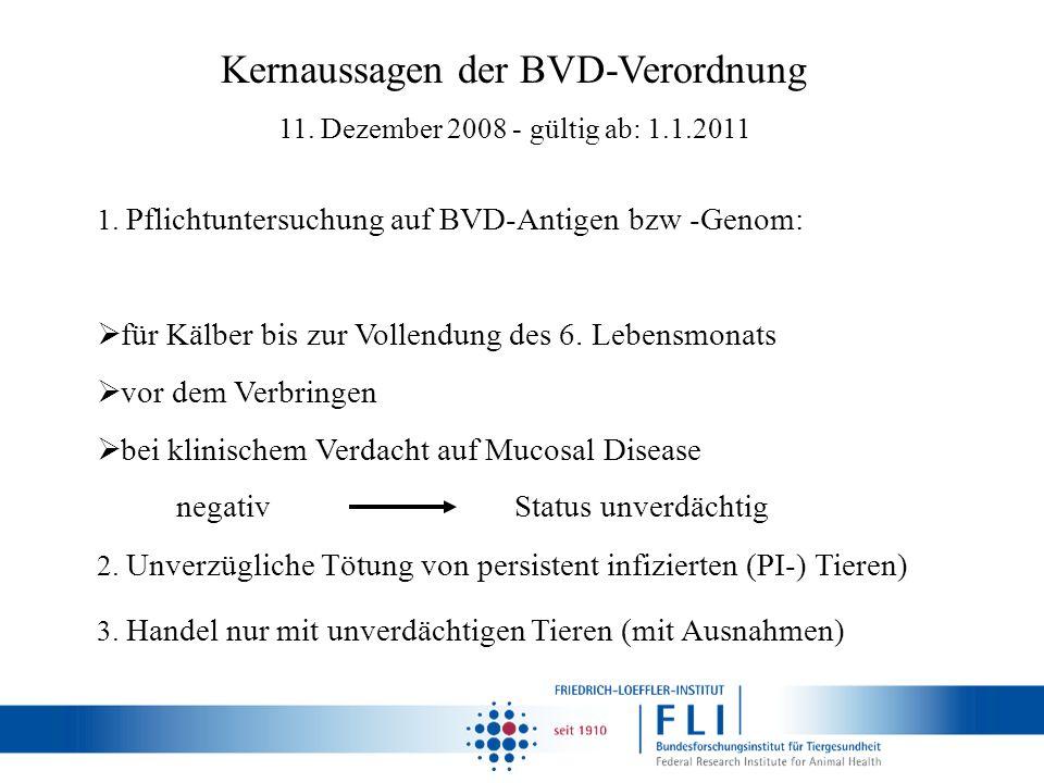 2. Unverzügliche Tötung von persistent infizierten (PI-) Tieren) 3. Handel nur mit unverdächtigen Tieren (mit Ausnahmen) 1. Pflichtuntersuchung auf BV