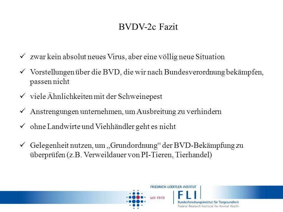 BVDV-2c Fazit zwar kein absolut neues Virus, aber eine völlig neue Situation Vorstellungen über die BVD, die wir nach Bundesverordnung bekämpfen, pass
