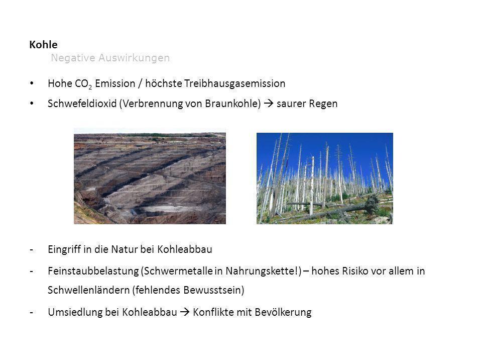 Kohle Hohe CO 2 Emission / höchste Treibhausgasemission Schwefeldioxid (Verbrennung von Braunkohle) saurer Regen -Eingriff in die Natur bei Kohleabbau -Feinstaubbelastung (Schwermetalle in Nahrungskette!) – hohes Risiko vor allem in Schwellenländern (fehlendes Bewusstsein) -Umsiedlung bei Kohleabbau Konflikte mit Bevölkerung Negative Auswirkungen