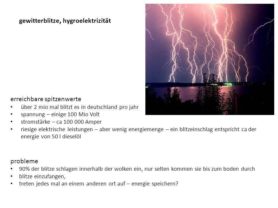 gewitterblitze, hygroelektrizität erreichbare spitzenwerte über 2 mio mal blitzt es in deutschland pro jahr spannung – einige 100 Mio Volt stromstärke – ca 100 000 Amper riesige elektrische leistungen – aber wenig energiemenge – ein blitzeinschlag entspricht ca der energie von 50 l dieselöl probleme 90% der blitze schlagen innerhalb der wolken ein, nur selten kommen sie bis zum boden durch blitze einzufangen, treten jedes mal an einem anderen ort auf – energie speichern?