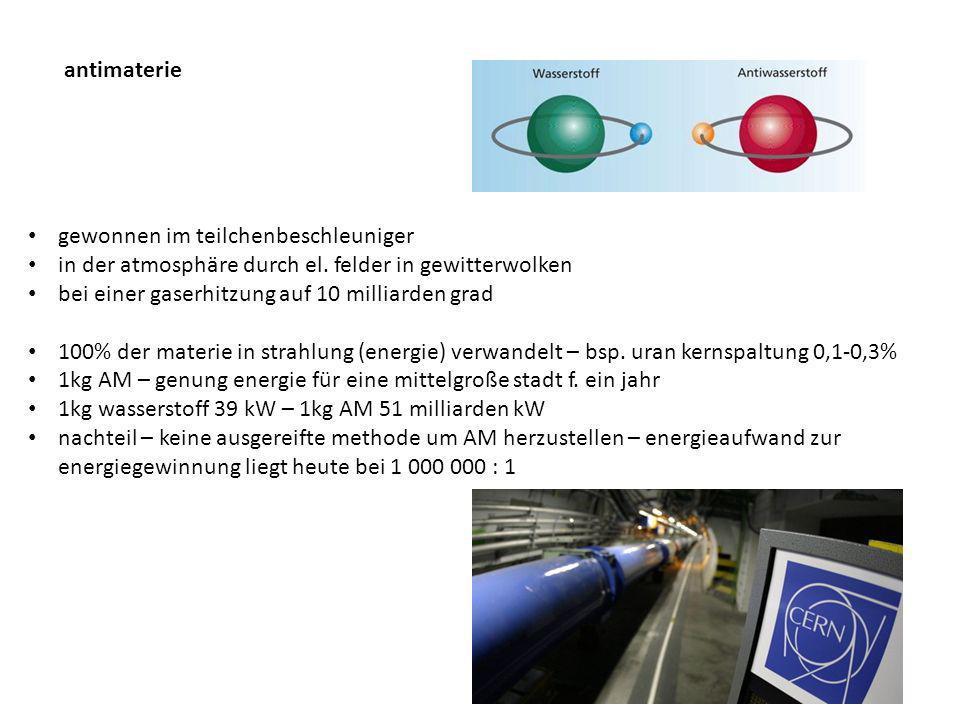 antimaterie gewonnen im teilchenbeschleuniger in der atmosphäre durch el.