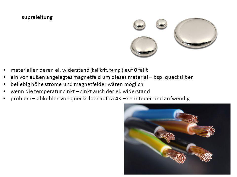 supraleitung materialien deren el.widerstand (bei krit.