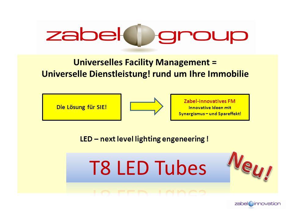 T8 LED Tubes Technische Daten: Durchmesser: 26 mm Leistungsaufnahme: 10 – 29 W Eingangsspannung: AC 220-240 V Netzfrequenz: 50 Hz Leistungsfaktor: > 0,95 Wirkungsgrad: > 89 % Lichtstrom/ Watt: 106 – 110 lm/W Abstrahlwinkel: 120° CRI: > 85Ra Betriebsumgebung: - 25 C° bis + 55 C° Gewicht: 220 g bis 466 g Lebensdauer: > 50.000 Std.