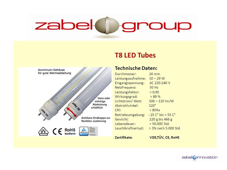 T8 LED Tubes Technische Daten: Durchmesser: 26 mm Leistungsaufnahme: 10 – 29 W Eingangsspannung: AC 220-240 V Netzfrequenz: 50 Hz Leistungsfaktor: > 0