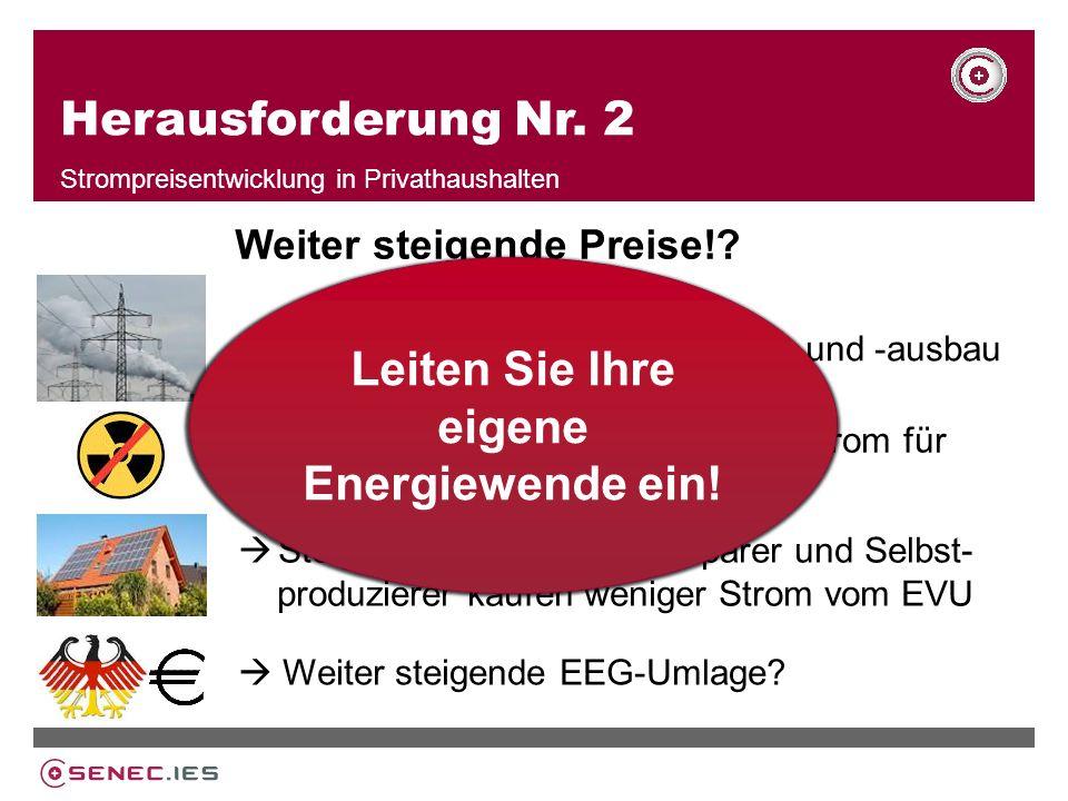 Herausforderung Nr.2 Strompreisentwicklung in Privathaushalten Weiter steigende Preise!.
