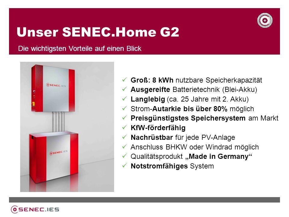 Unser SENEC.Home G2 Die wichtigsten Vorteile auf einen Blick Groß: 8 kWh nutzbare Speicherkapazität Ausgereifte Batterietechnik (Blei-Akku) Langlebig (ca.
