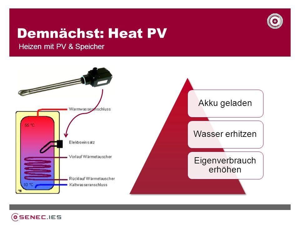 Demnächst: Heat PV Heizen mit PV & Speicher Akku geladenWasser erhitzen Eigenverbrauch erhöhen