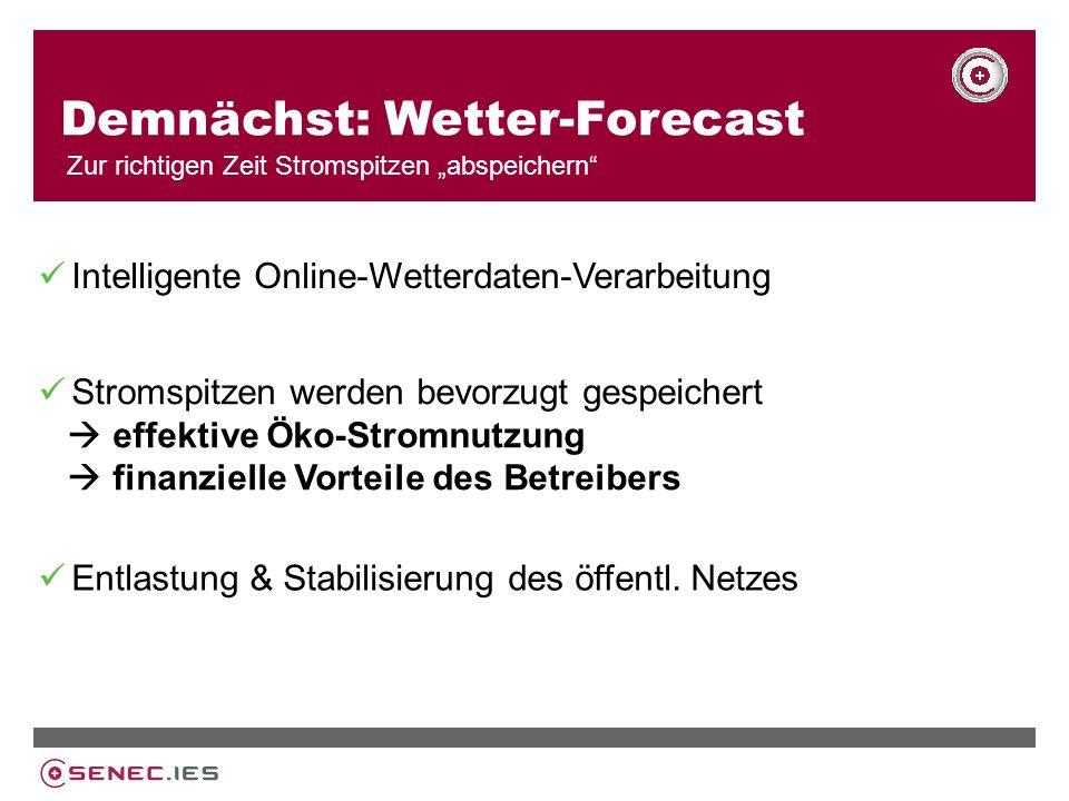 Demnächst: Wetter-Forecast Zur richtigen Zeit Stromspitzen abspeichern Intelligente Online-Wetterdaten-Verarbeitung Entlastung & Stabilisierung des öffentl.