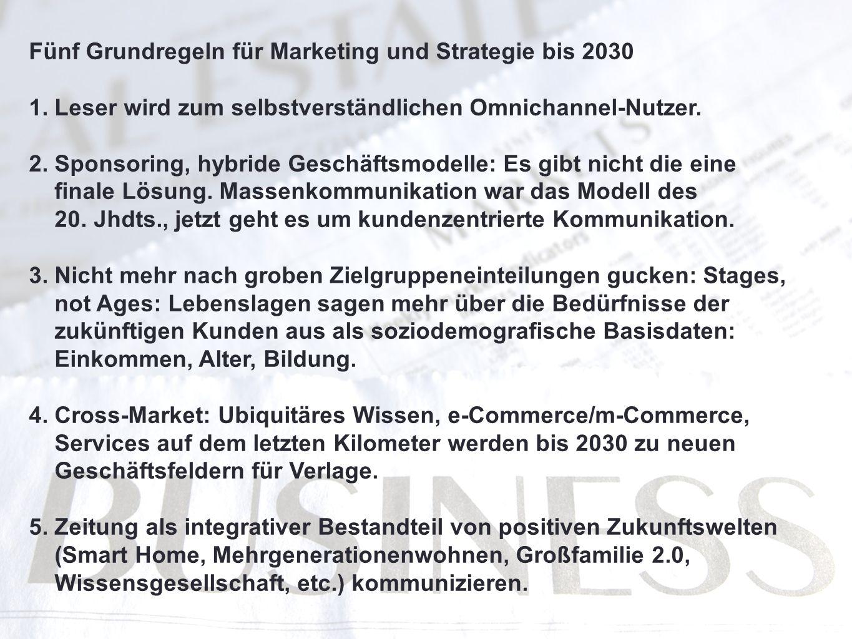 Fünf Grundregeln für Marketing und Strategie bis 2030 1. Leser wird zum selbstverständlichen Omnichannel-Nutzer. 2. Sponsoring, hybride Geschäftsmodel