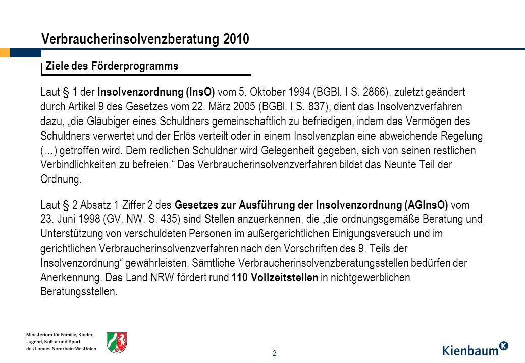 13 Leistungen der Beratungsstellen - Veranstaltungen - Trägerschau Verbraucherinsolvenzberatung 2010 Die Diakonie/ev.