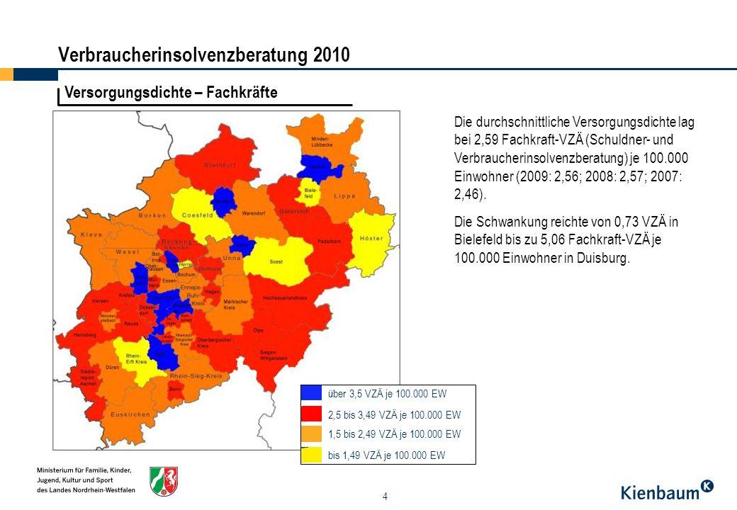 15 Leistungen der Beratungsstellen - Veranstaltungen – Regionalschau II Verbraucherinsolvenzberatung 2010