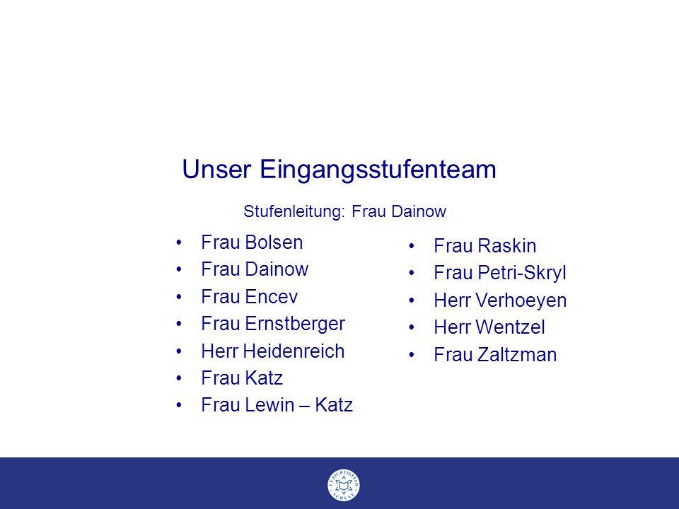 Unser Eingangsstufenteam Stufenleitung: Frau Dainow Frau Bolsen Frau Dainow Frau Encev Frau Ernstberger Herr Heidenreich Frau Katz Frau Lewin – Katz F