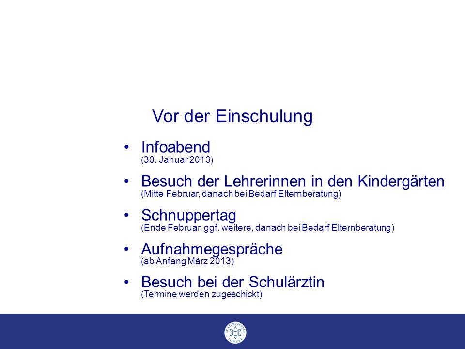 Infoabend (30. Januar 2013) Besuch der Lehrerinnen in den Kindergärten (Mitte Februar, danach bei Bedarf Elternberatung) Schnuppertag (Ende Februar, g