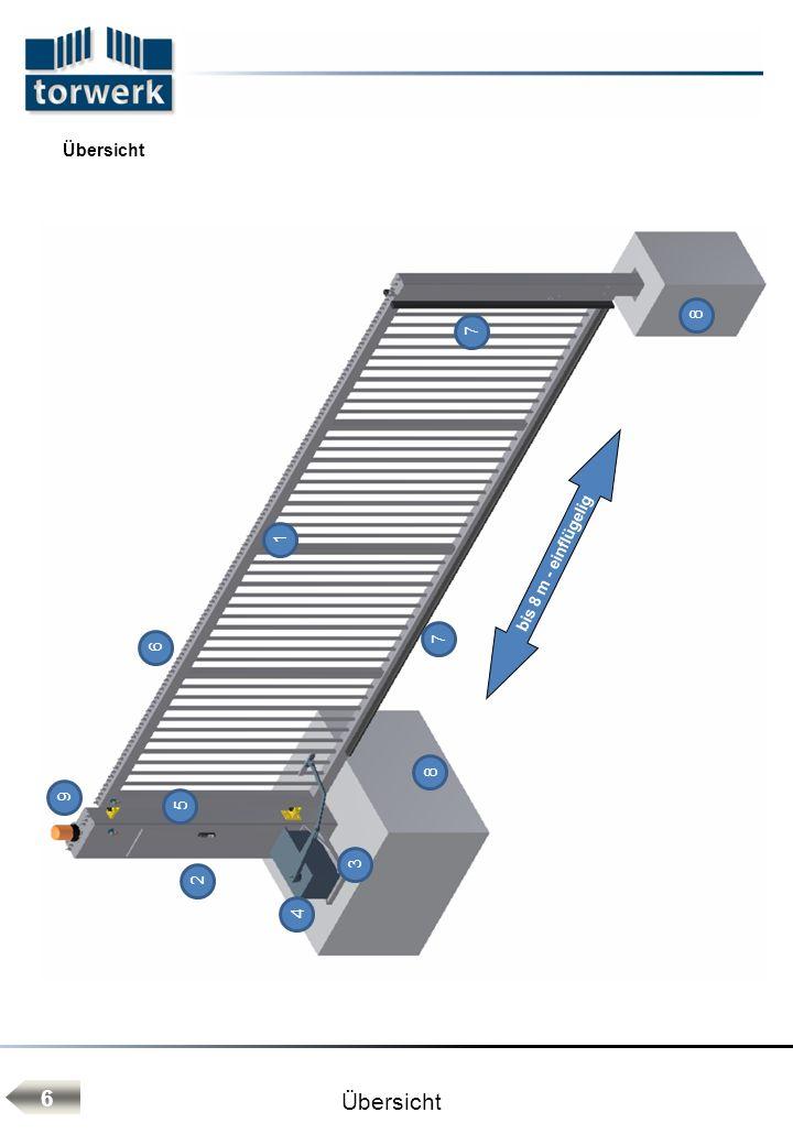 Bedienelemente: - Schlüsselschalter mit Funktionen AUF-STOP-ZU Montageeinheit: - alle Baugruppen sind als eine Montageeinheit komplett vormontiert und intern betriebsfertig verdrahtet - massiver Fundamentsetzrahmen mit Druckschrauben für Feinjustage TORWERK-Langzeit-Korrosionsschutz - Anforderungen an Korrosionsschutzbelastungen nach DIN EN ISO 12944-2 - C4 werden erfüllt.