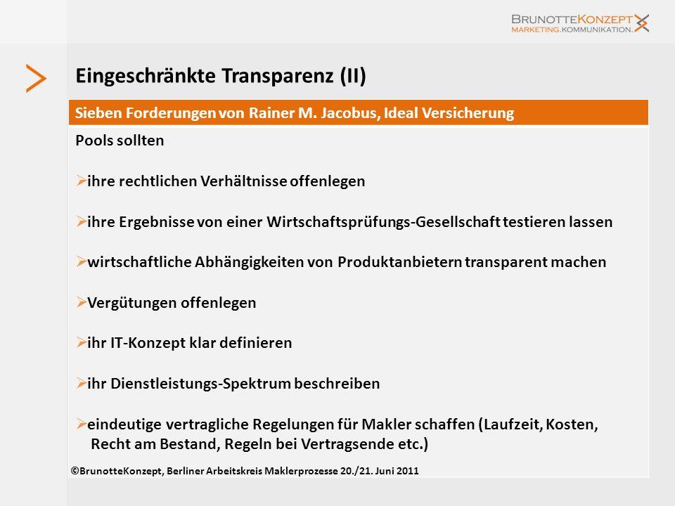 Angebote von Pools und Verbünden (III) ©BrunotteKonzept, Berliner Arbeitskreis Maklerprozesse 20./21. Juni 2011