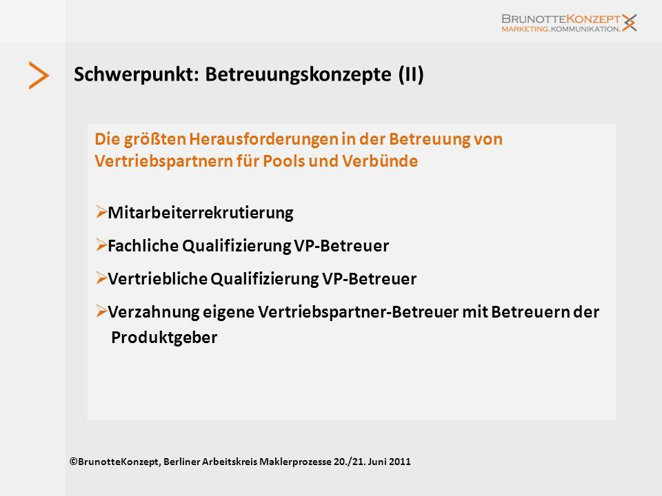 Schwerpunkt 2011: Betreuungskonzept Mit den Erwartungen von Maklern an Pools und Verbünde beschäftigten sich bereits einige Studien, z.B. dvb-Makler-A