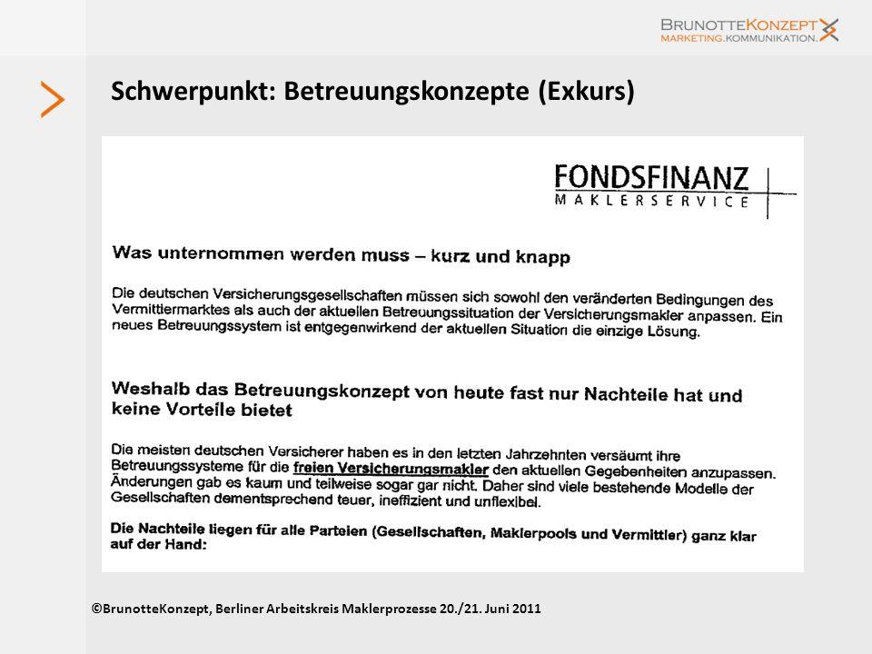 Schwerpunkt: Betreuungskonzepte (IV) Wünsche von Pools und Verbünden an Produktgeber (Auszug) Persönliche Ansprechpartner Gemeinsame Strategie zur Bet