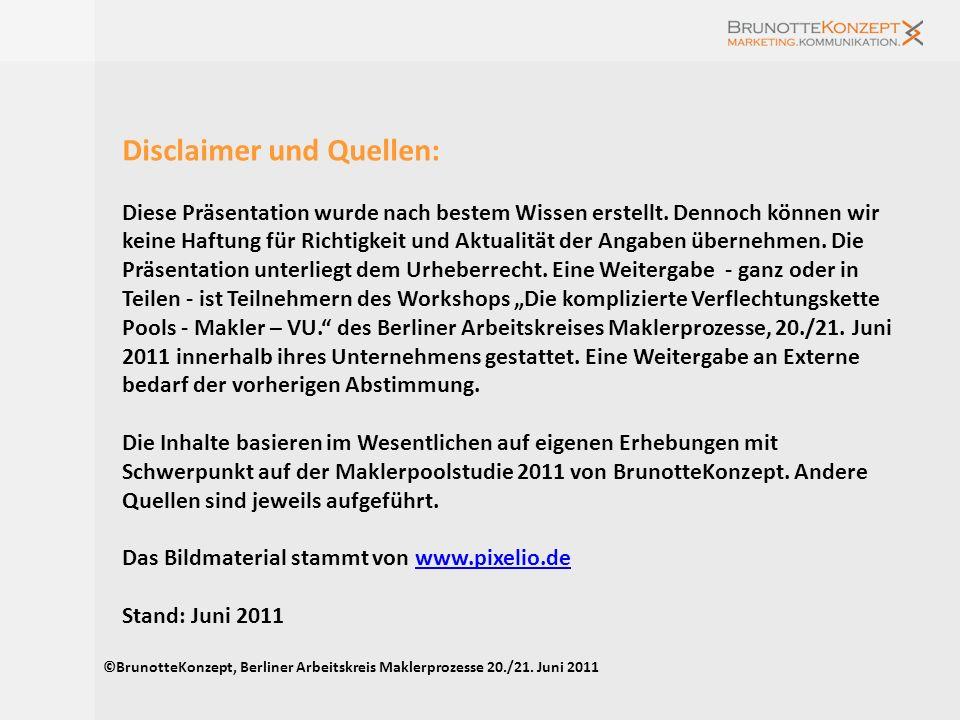 Angebote und Projekte von BrunotteKonzept im Maklermarkt Konzept für qualitative und quantitative Untersuchung der Forderungen relevanter Maklerpools