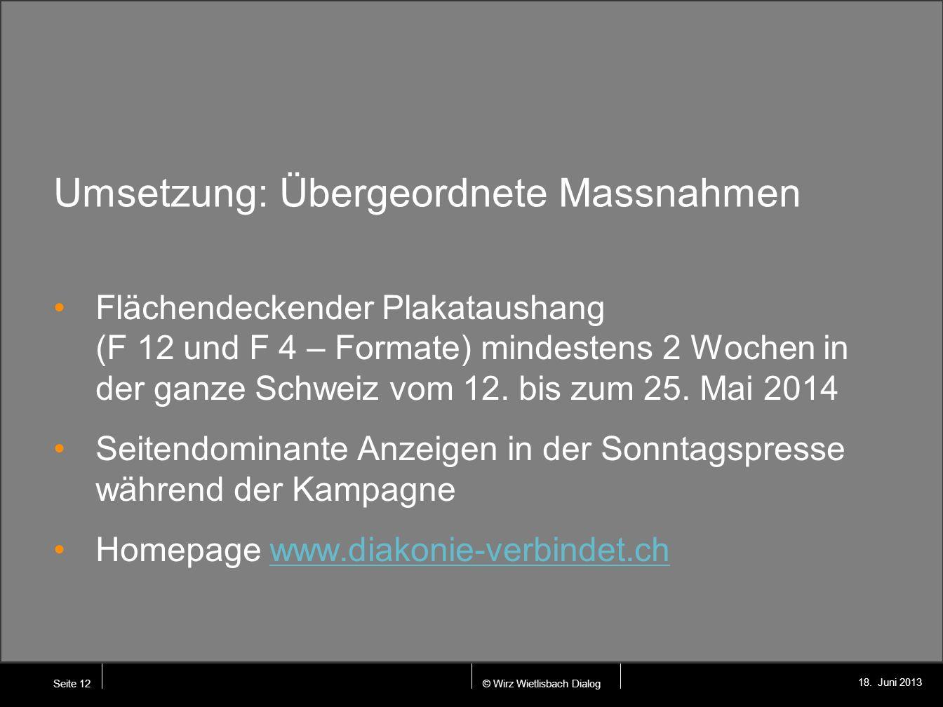 © Wirz Wietlisbach Dialog 18. Juni 2013 Umsetzung: Übergeordnete Massnahmen Flächendeckender Plakataushang (F 12 und F 4 – Formate) mindestens 2 Woche
