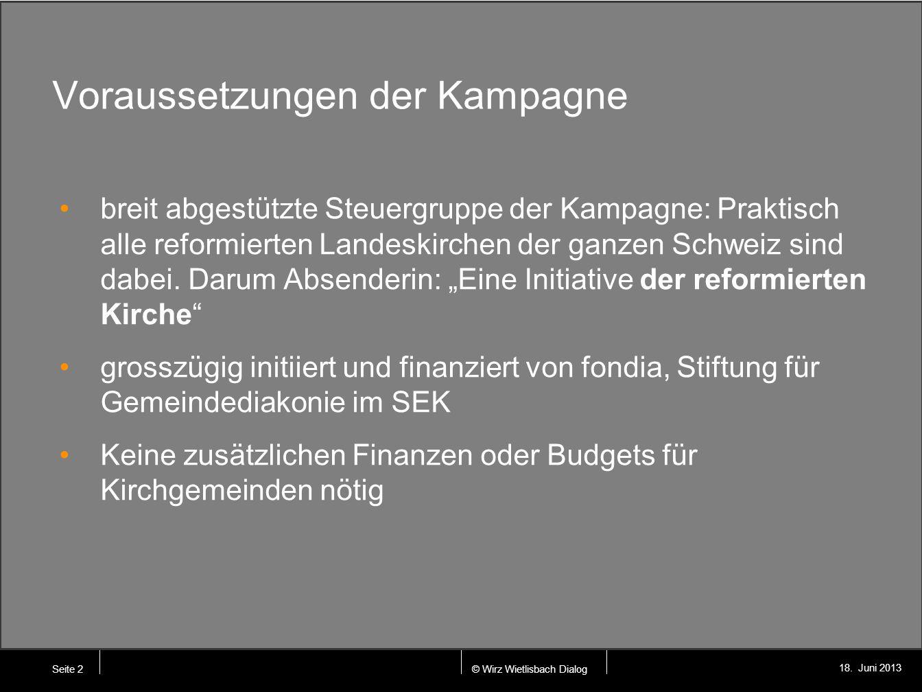 © Wirz Wietlisbach Dialog 18. Juni 2013 Voraussetzungen der Kampagne breit abgestützte Steuergruppe der Kampagne: Praktisch alle reformierten Landeski