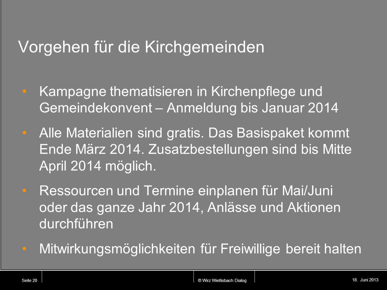 © Wirz Wietlisbach Dialog 18. Juni 2013 Vorgehen für die Kirchgemeinden Kampagne thematisieren in Kirchenpflege und Gemeindekonvent – Anmeldung bis Ja