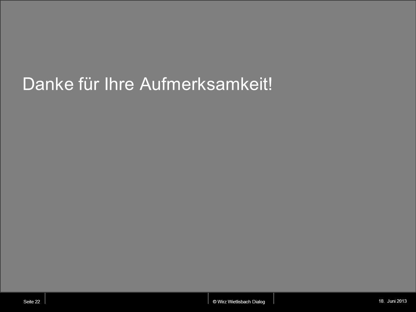 © Wirz Wietlisbach Dialog 18. Juni 2013 Seite 22 Danke für Ihre Aufmerksamkeit!