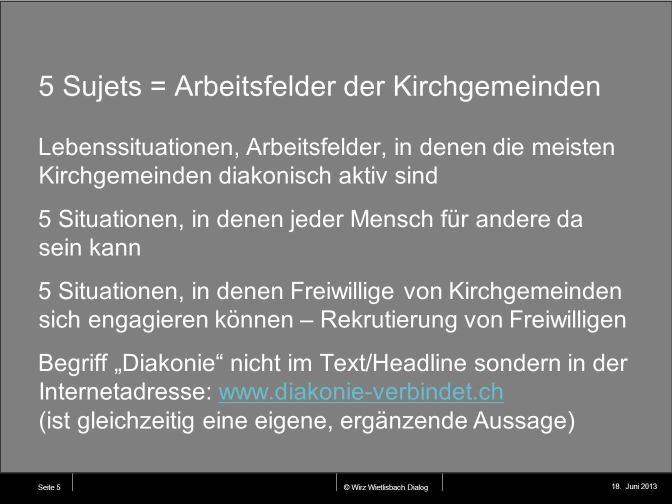 © Wirz Wietlisbach Dialog 18. Juni 2013 5 Sujets = Arbeitsfelder der Kirchgemeinden Lebenssituationen, Arbeitsfelder, in denen die meisten Kirchgemein