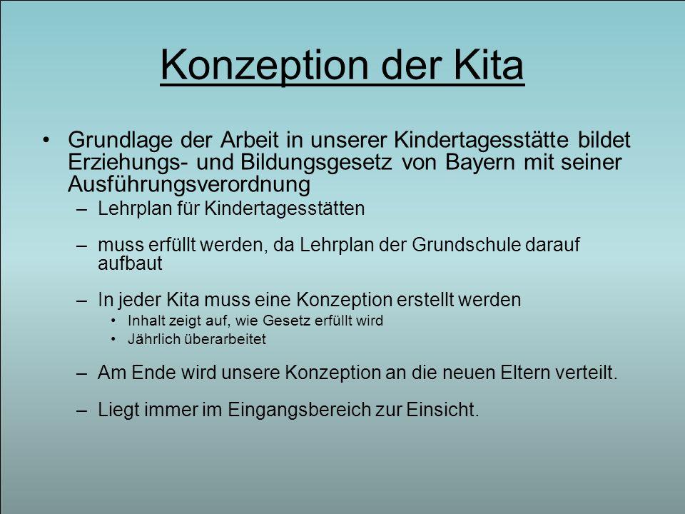 Konzeption der Kita Grundlage der Arbeit in unserer Kindertagesstätte bildet Erziehungs- und Bildungsgesetz von Bayern mit seiner Ausführungsverordnun