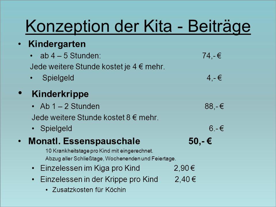 Konzeption der Kita - Beiträge Kindergarten ab 4 – 5 Stunden: 74,- Jede weitere Stunde kostet je 4 mehr. Spielgeld 4,- Kinderkrippe Ab 1 – 2 Stunden 8