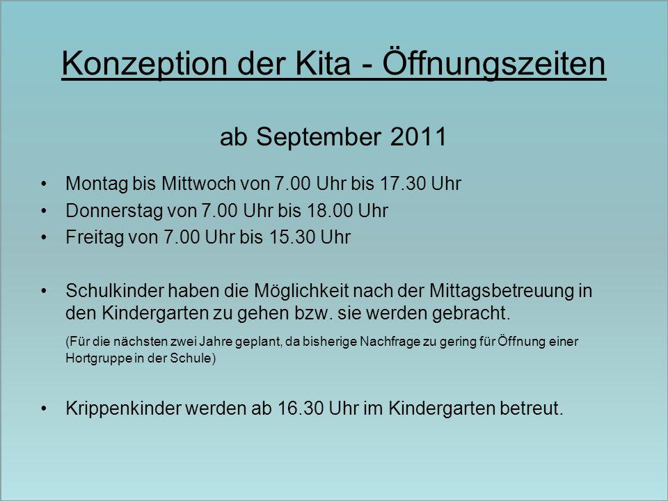 Konzeption der Kita - Öffnungszeiten ab September 2011 Montag bis Mittwoch von 7.00 Uhr bis 17.30 Uhr Donnerstag von 7.00 Uhr bis 18.00 Uhr Freitag vo