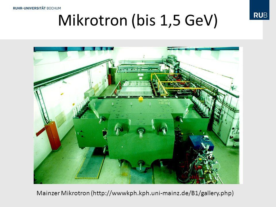 Mikrotron (bis 1,5 GeV) Mainzer Mikrotron (http://wwwkph.kph.uni-mainz.de/B1/gallery.php)