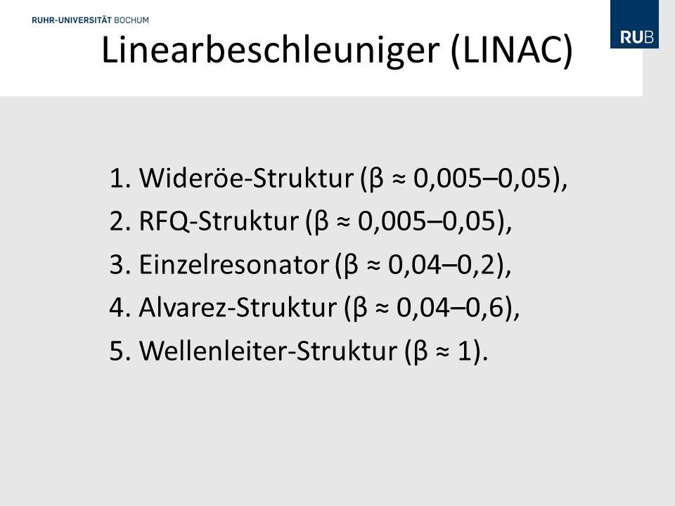 Linearbeschleuniger (LINAC) 1.Wideröe-Struktur (β 0,005–0,05), 2.