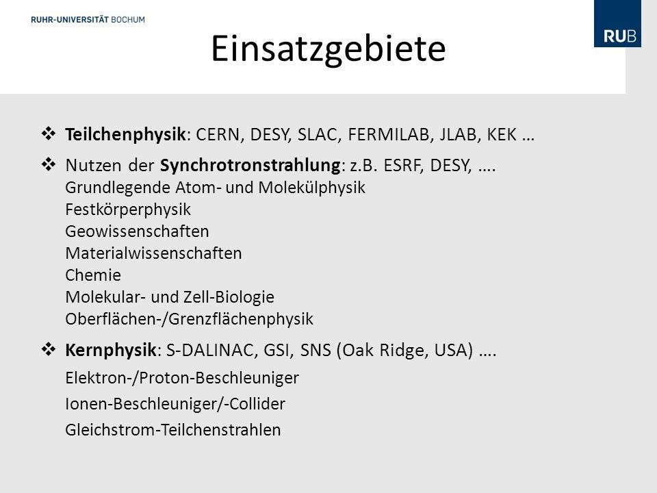 Einsatzgebiete Teilchenphysik: CERN, DESY, SLAC, FERMILAB, JLAB, KEK … Nutzen der Synchrotronstrahlung: z.B.