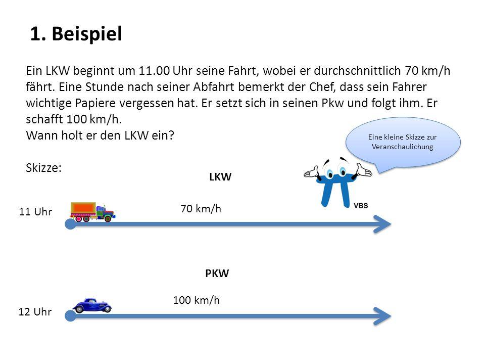 Ein LKW beginnt um 11.00 Uhr seine Fahrt, wobei er durchschnittlich 70 km/h fährt. Eine Stunde nach seiner Abfahrt bemerkt der Chef, dass sein Fahrer