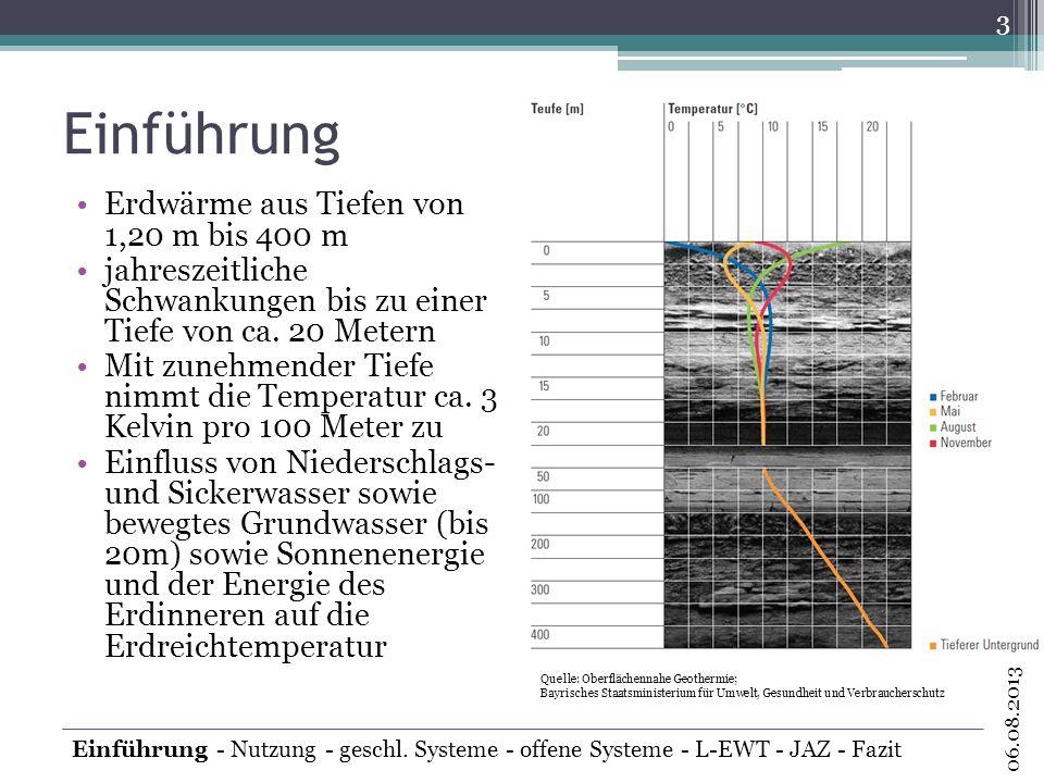 Einführung 3 06.08.2013 Einführung - Nutzung - geschl. Systeme - offene Systeme - L-EWT - JAZ - Fazit Erdwärme aus Tiefen von 1,20 m bis 400 m jahresz