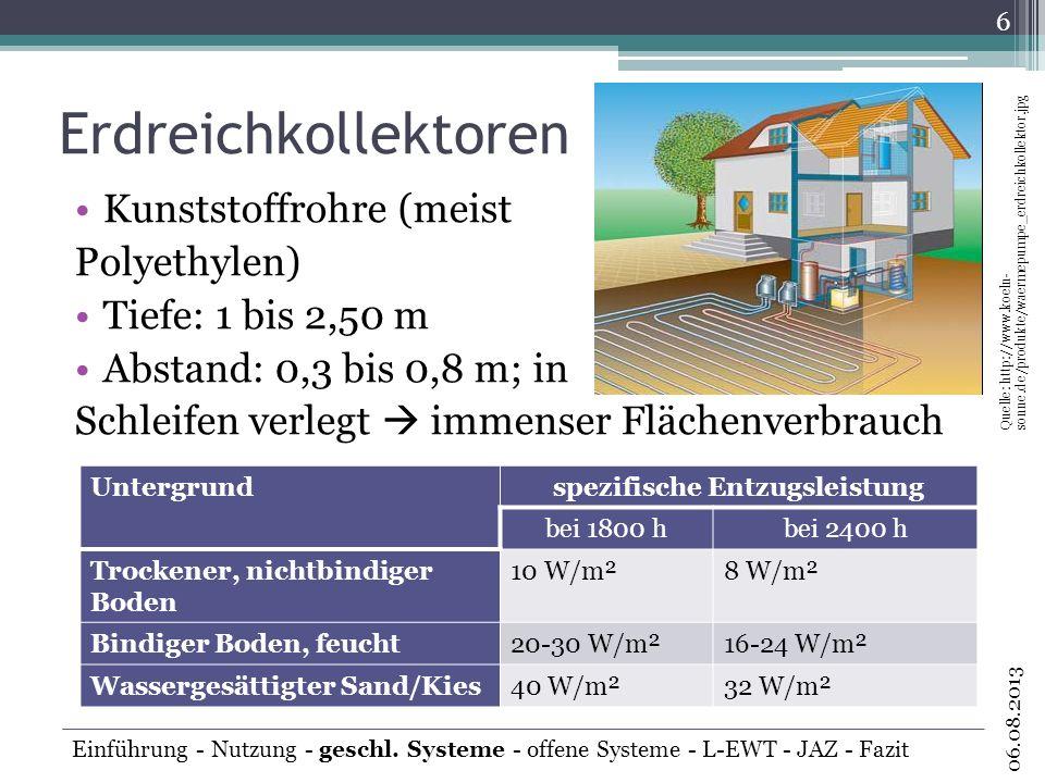 Erdreichkollektoren Kunststoffrohre (meist Polyethylen) Tiefe: 1 bis 2,50 m Abstand: 0,3 bis 0,8 m; in Schleifen verlegt immenser Flächenverbrauch 6 0