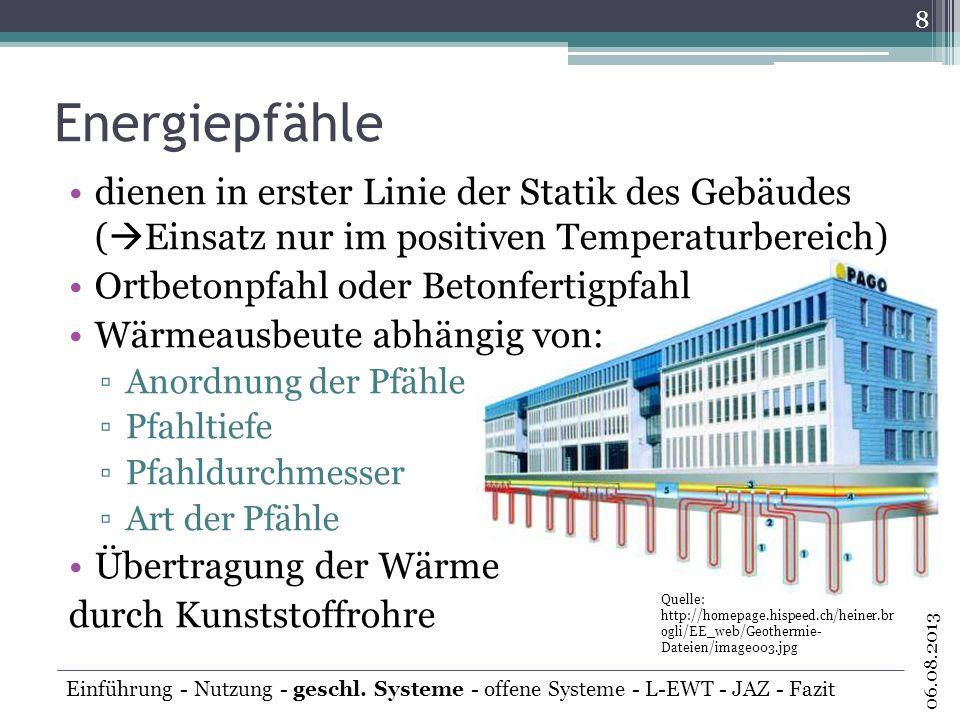 offene Systeme Grundwasser ist Wärmeträgermedium Förderbrunnen entnimmt Grundwasser Verdampfer der Wärmepumpenanlage das um 3-4 K abgekühlte Grundwasser wird über Schluckbrunnen wieder reinjeziert 9 06.08.2013 Einführung - Nutzung - geschl.