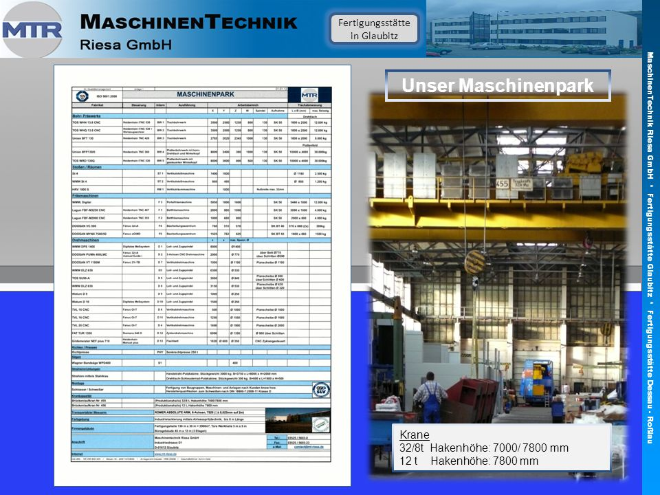 Unser Maschinenpark Fertigungsstätte in Glaubitz Krane 32/8t Hakenhöhe: 7000/ 7800 mm 12 t Hakenhöhe: 7800 mm MaschinenTechnik Riesa GmbH * Fertigungs