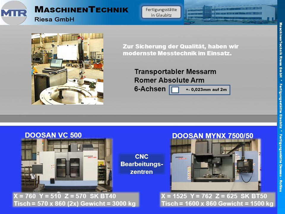 Fertigungsstätte in Glaubitz DOOSAN VC 500 CNC Bearbeitungs- zentren DOOSAN MYNX 7500/50 X = 760 Y = 510 Z = 570 SK BT40 Tisch = 570 x 860 (2x) Gewich