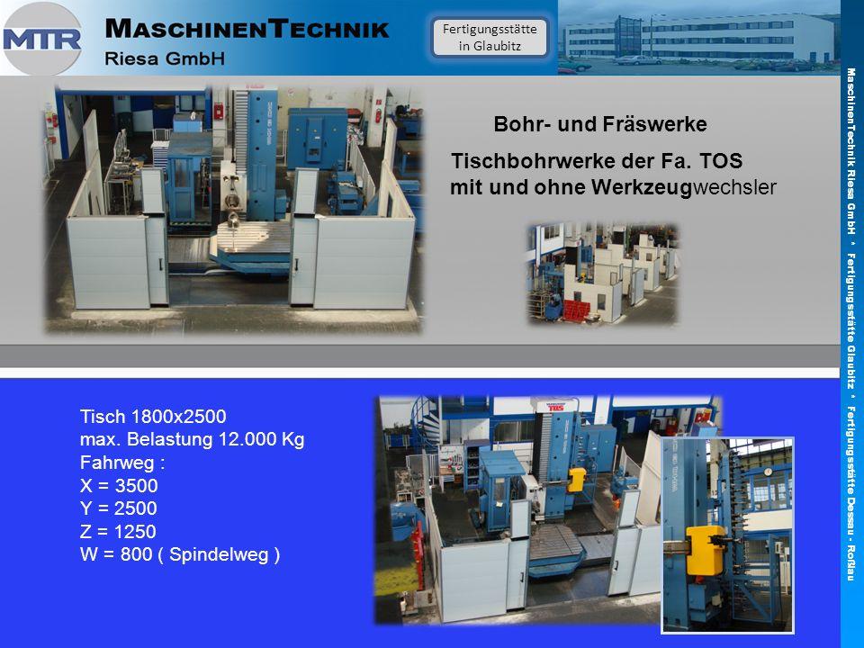Bohr- und Fräswerke Tisch 1800x2500 max. Belastung 12.000 Kg Fahrweg : X = 3500 Y = 2500 Z = 1250 W = 800 ( Spindelweg ) Tischbohrwerke der Fa. TOS mi